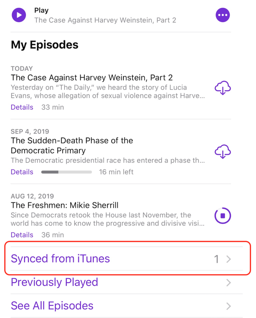 Synced from iTunes in Apple Podcasts App on iOS