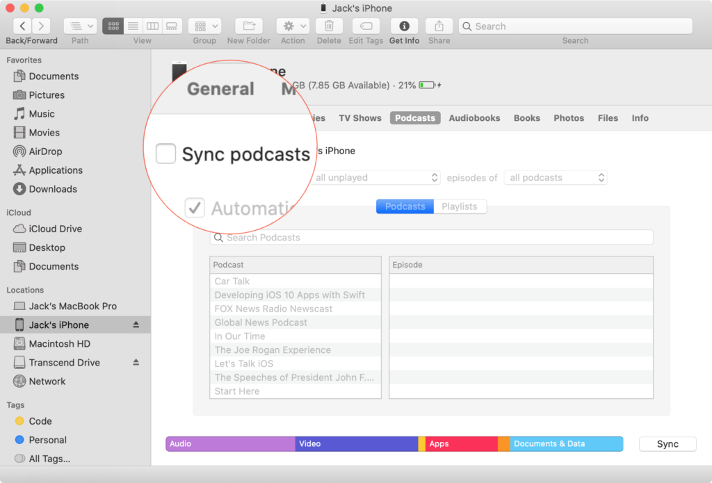 Uncheck Sync Podcasts