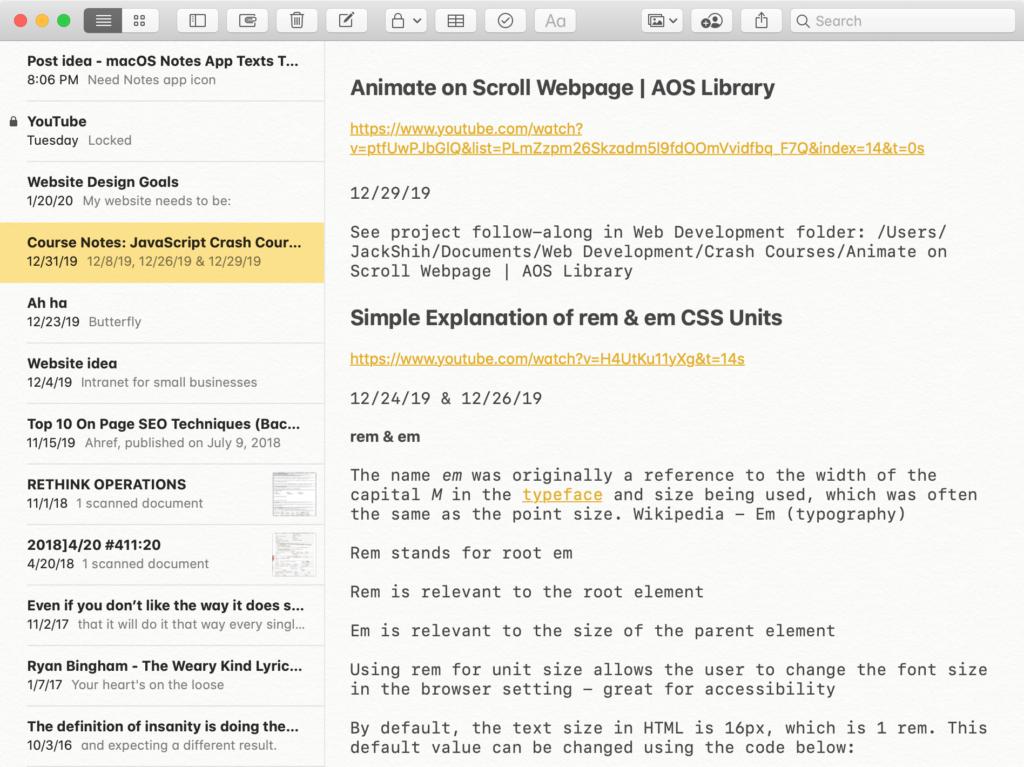 Screenshot of macOS Notes App Showing Larger Texts