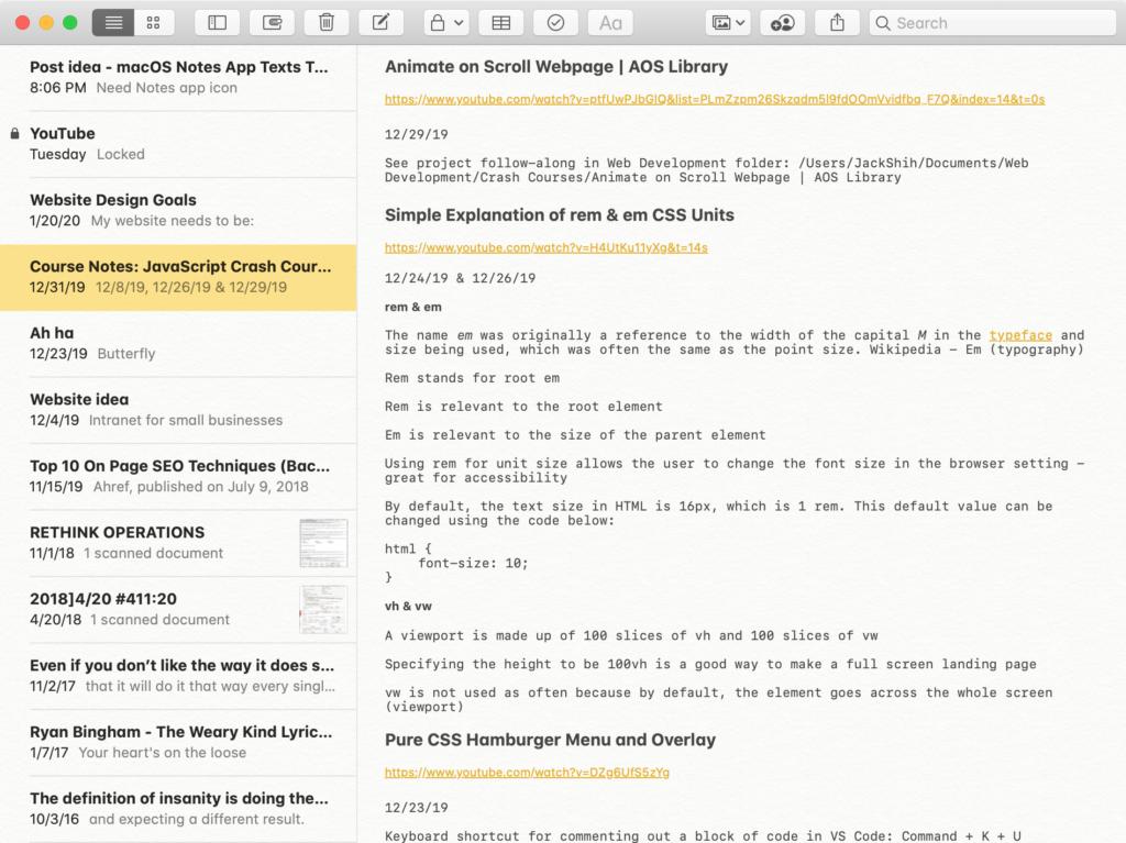Screenshot of macOS Notes App Showing Tiny Texts