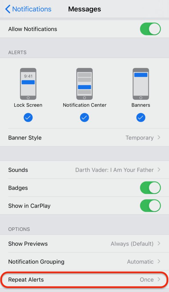 iOS Messages App Notifications Settings incl. Repeat Alerts