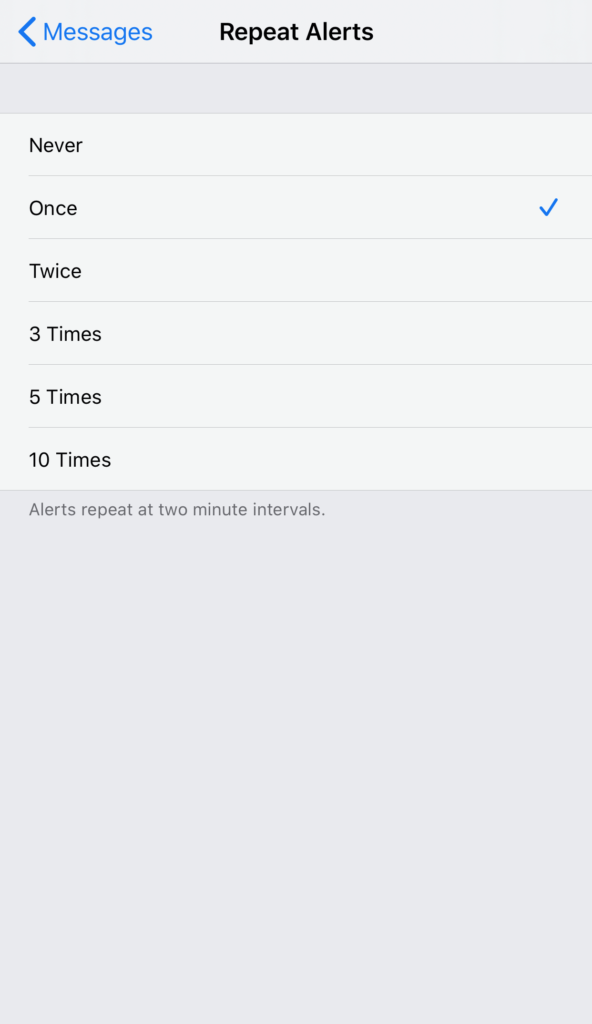iOS Messages App Repeat Alerts Options