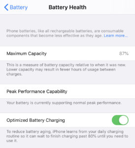 iOS Battery Health Screen