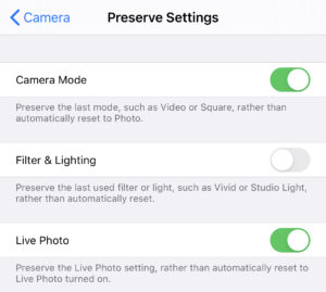 iOS Settings - Camera - Preserve Settings