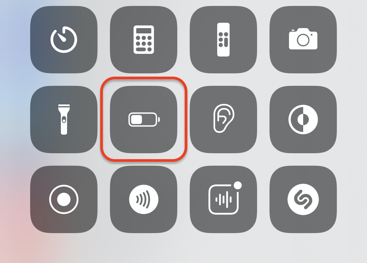 Low Power Mode Button in Control Center on iPhone