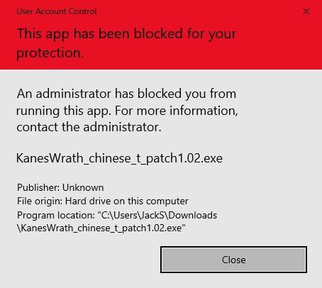 This app has been blocked for your protection error in Windows 10