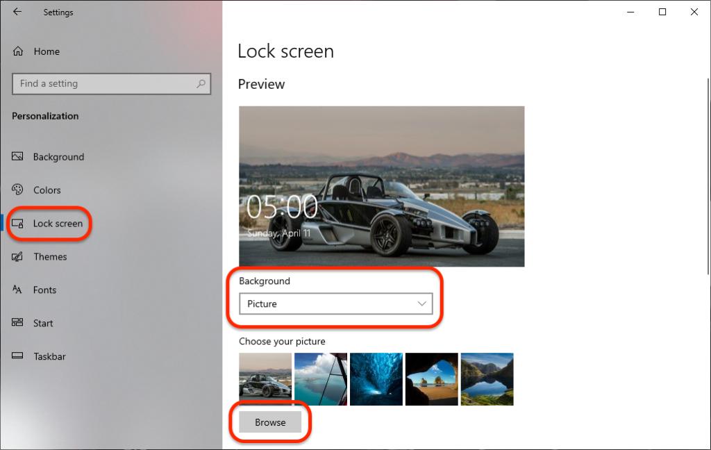Windows 10 Lock Screen Settings