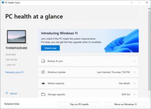 PC Health Check App Interface