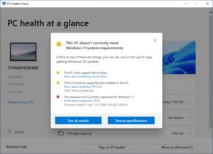 PC Health Check Result